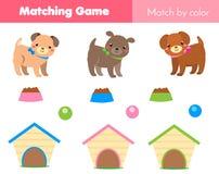 Juego educativo de los niños Partido por color El tema de los animales embroma actividad con el perro de la historieta Fotos de archivo libres de regalías