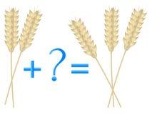 Juego educativo para los niños, ejemplo de la adición matemática, ejemplos con los oídos del trigo Imagen de archivo libre de regalías