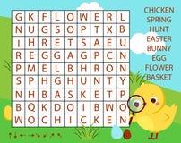 Juego educativo para los niños El rompecabezas de la búsqueda de la palabra embroma actividad Tema de Pascua que aprende vocabula