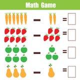 Juego educativo para los niños, hoja de trabajo de la matemáticas de las matemáticas de la substracción Fotos de archivo libres de regalías