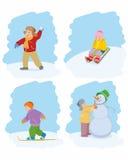 Juego en juego del invierno de los niños Imagen de archivo