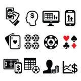 Juego, en línea apostando, iconos del casino fijados Foto de archivo libre de regalías
