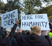 Juego encima, protesta, Washington Square Park, NYC, NY, los E.E.U.U. Fotografía de archivo libre de regalías