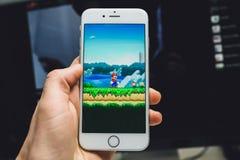 Juego estupendo de Mario Run imagen de archivo