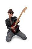 Juego expresivo del guitarrista a solas Imagen de archivo libre de regalías