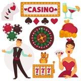 Juego fijado iconos en casino Imágenes de archivo libres de regalías