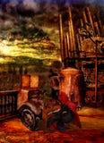 Juego horrorific espectral del hombre su pianola en una torre oxidada Imagen de archivo libre de regalías