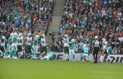 Juego internacional de la serie de los New York Jets contra los Miami Dolphins en el Wembley Stadium Fotos de archivo