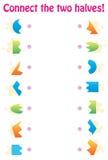Juego a juego - conecte las dos mitades de formas geométricas ilustración del vector