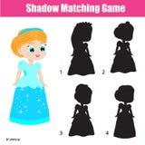 Juego a juego de la sombra Embroma actividad con la princesa hermosa Fotos de archivo