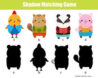 Juego a juego de la sombra Embroma actividad Tema de los animales Imagen de archivo