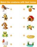 Juego a juego para los niños, animales con sus hogares Imagen de archivo libre de regalías