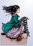 Juego lindo de la muchacha con el corazón libre illustration