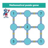 Juego matemático del rompecabezas Aprendizaje de matemáticas, tareas para la adición para los niños preescolares hoja de trabajo  stock de ilustración