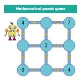 Juego matemático del rompecabezas Aprendizaje de matemáticas, tareas para la adición para los niños preescolares hoja de trabajo  libre illustration