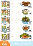 Juego a juego para los niños Cuente cuánto es el dinero en cada cartera y elija el precio correcto Un sistema de diversos platos libre illustration