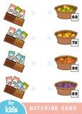 Juego a juego para los niños Cuente cuánto es el dinero en cada cartera y elija el precio correcto Un sistema de frutas stock de ilustración