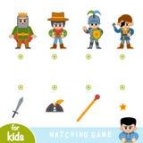 Juego a juego, juego para los niños, sistema de personajes de dibujos animados stock de ilustración