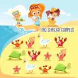 Juego para los niños con el hallazgo seis pares de habitantes lindos de la playa Imagen de archivo libre de regalías