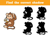 Juego para los niños: Encuentre la sombra correcta (el pequeño mono) Fotografía de archivo
