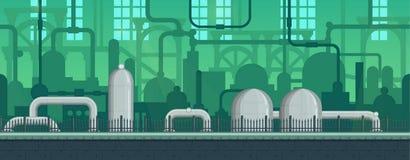 Juego postapocalyptic industrial sin fin inconsútil Ilustración del Vector