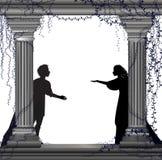 Juego Romeo y Juliet, fecha romántica, silueta, historia de amor de Shakespeare s, stock de ilustración