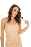 Juego sin tirantes del vestido del moreno de la mujer con el pelo Foto de archivo libre de regalías