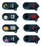 Juego UI Los iconos con una opción de diversos parámetros del tiempo, del dinero, de armas y de la droga diseñan para el móvil y  Fotos de archivo
