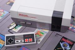 Juego video retro clásico en el NES foto de archivo libre de regalías