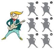 Juego de la representación visual de la imagen de espejo del guitarrista Imágenes de archivo libres de regalías