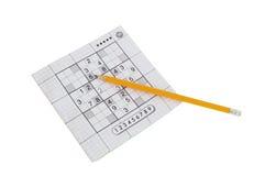 Juego y amarillo de Sudoku foto de archivo