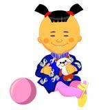 Juegos chinos de la niña con una panda Fotos de archivo