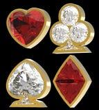 Juegos de forma diamantada de la tarjeta con enmarcar de oro Imágenes de archivo libres de regalías