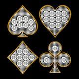 Juegos de forma diamantada de la tarjeta con enmarcar de oro Imagen de archivo libre de regalías