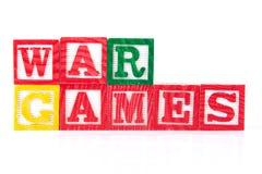 Juegos de guerra - bloques del bebé del alfabeto en blanco Imagenes de archivo