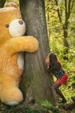 Juegos de la muchacha con el oso de peluche Fotos de archivo