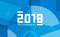 Juegos de los deportes de invierno en la Corea del Sur 2018 Fondo abstracto azul Dimensiones de una variable geométricas Identida stock de ilustración