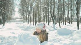 Juegos de niños en el parque del invierno almacen de video
