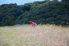 Juegos de niños en el prado, paisaje de la montaña Imagenes de archivo