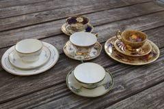 Juegos de té del estilo del vintage fotos de archivo
