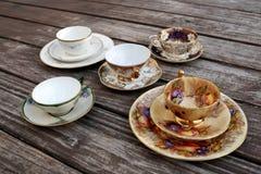 Juegos de té del estilo del vintage fotos de archivo libres de regalías