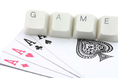 Juegos de tarjeta en línea Fotografía de archivo