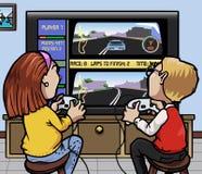 Juegos de video el competir con de coche Fotografía de archivo