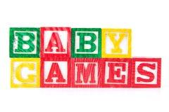 Juegos del bebé - bloques del bebé del alfabeto en blanco Fotos de archivo