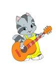 Juegos del gatito en la guitarra Imágenes de archivo libres de regalías