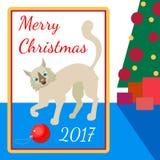 Juegos del gato con el juguete en el árbol de navidad Fotos de archivo libres de regalías