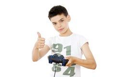 Juegos del individuo con una palanca de mando Imagen de archivo libre de regalías