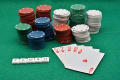 Juegos del póker que ganan, rubor imágenes de archivo libres de regalías