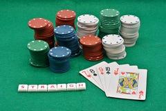 Juegos del póker que ganan, straigh imágenes de archivo libres de regalías