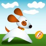 Juegos del perro con la bola ilustración del vector
